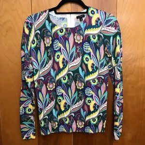 Talbots | Retro Paisley Floral Back Zip Sweater